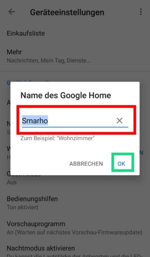 Google Home Assistant umbenennen